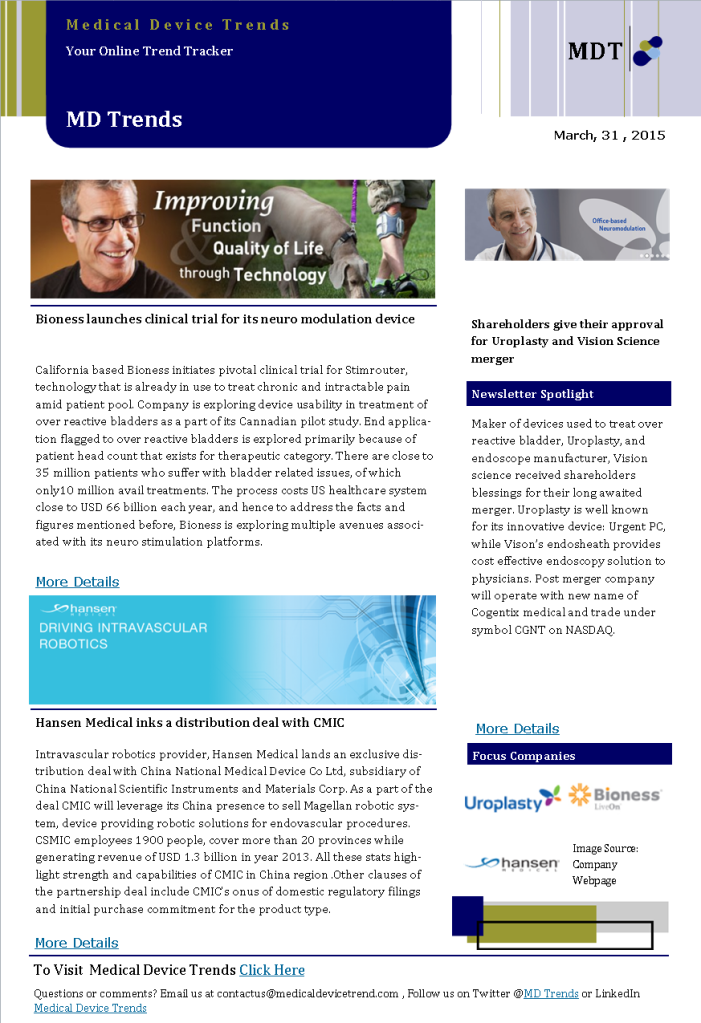 Medical Device Trends News Letter (Daily Dossier)31052014