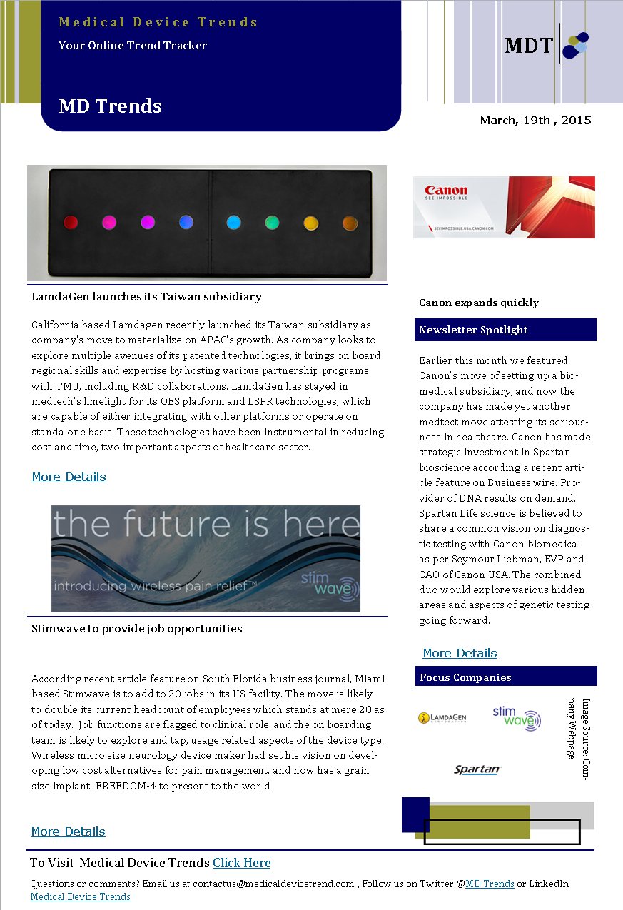 Medical Device Trends News Letter