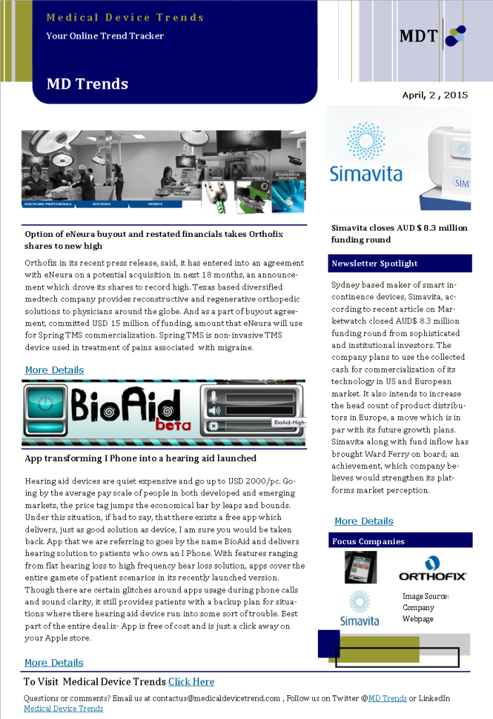 Medical Device Trends News Letter (Daily Dossier)-2